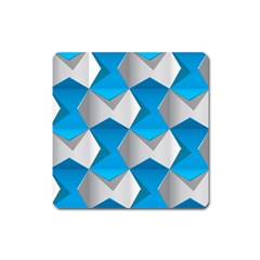 Blue White Grey Chevron Square Magnet by Mariart