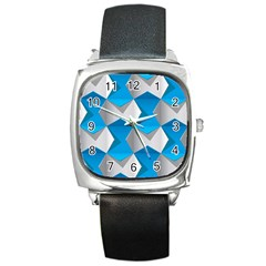 Blue White Grey Chevron Square Metal Watch by Mariart