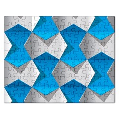 Blue White Grey Chevron Rectangular Jigsaw Puzzl by Mariart