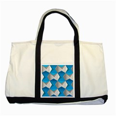 Blue White Grey Chevron Two Tone Tote Bag by Mariart