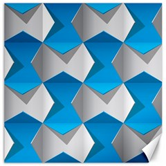 Blue White Grey Chevron Canvas 16  X 16   by Mariart