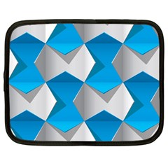 Blue White Grey Chevron Netbook Case (large) by Mariart