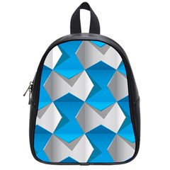 Blue White Grey Chevron School Bags (small)  by Mariart