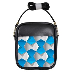 Blue White Grey Chevron Girls Sling Bags by Mariart