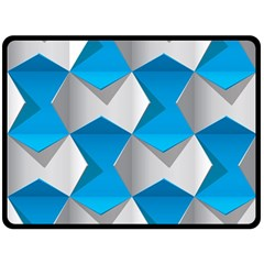 Blue White Grey Chevron Fleece Blanket (large)