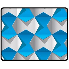 Blue White Grey Chevron Fleece Blanket (medium)  by Mariart