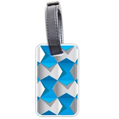 Blue White Grey Chevron Luggage Tags (two Sides) by Mariart