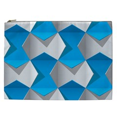 Blue White Grey Chevron Cosmetic Bag (xxl)  by Mariart