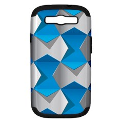 Blue White Grey Chevron Samsung Galaxy S Iii Hardshell Case (pc+silicone) by Mariart
