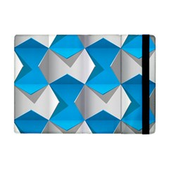 Blue White Grey Chevron Apple Ipad Mini Flip Case by Mariart