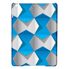 Blue White Grey Chevron Ipad Air Hardshell Cases by Mariart
