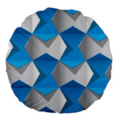 Blue White Grey Chevron Large 18  Premium Flano Round Cushions by Mariart