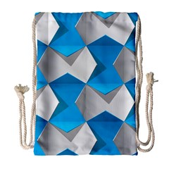 Blue White Grey Chevron Drawstring Bag (large) by Mariart