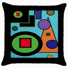Basic Shape Circle Triangle Plaid Black Green Brown Blue Purple Throw Pillow Case (black) by Mariart