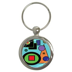 Basic Shape Circle Triangle Plaid Black Green Brown Blue Purple Key Chains (round)  by Mariart