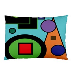Basic Shape Circle Triangle Plaid Black Green Brown Blue Purple Pillow Case by Mariart