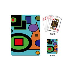 Basic Shape Circle Triangle Plaid Black Green Brown Blue Purple Playing Cards (mini)  by Mariart