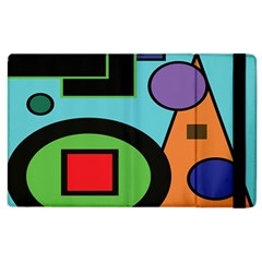 Basic Shape Circle Triangle Plaid Black Green Brown Blue Purple Apple Ipad 3/4 Flip Case by Mariart