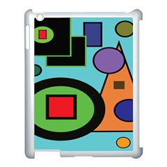 Basic Shape Circle Triangle Plaid Black Green Brown Blue Purple Apple Ipad 3/4 Case (white) by Mariart