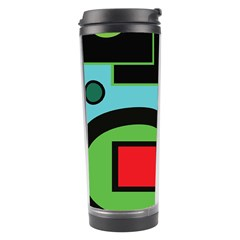 Basic Shape Circle Triangle Plaid Black Green Brown Blue Purple Travel Tumbler by Mariart