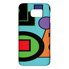 Basic Shape Circle Triangle Plaid Black Green Brown Blue Purple Galaxy S6 by Mariart