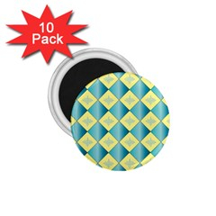 Yellow Blue Diamond Chevron Wave 1 75  Magnets (10 Pack)