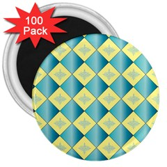 Yellow Blue Diamond Chevron Wave 3  Magnets (100 Pack) by Mariart