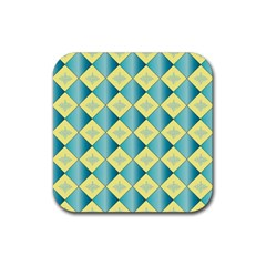 Yellow Blue Diamond Chevron Wave Rubber Square Coaster (4 Pack)  by Mariart