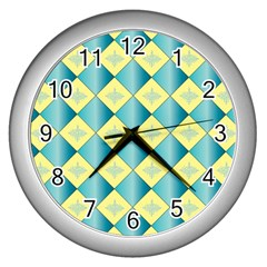 Yellow Blue Diamond Chevron Wave Wall Clocks (silver)  by Mariart
