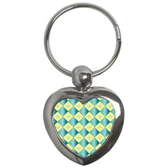 Yellow Blue Diamond Chevron Wave Key Chains (heart)  by Mariart