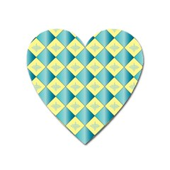 Yellow Blue Diamond Chevron Wave Heart Magnet by Mariart