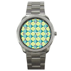 Yellow Blue Diamond Chevron Wave Sport Metal Watch by Mariart