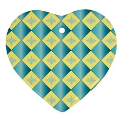 Yellow Blue Diamond Chevron Wave Heart Ornament (two Sides) by Mariart