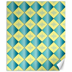 Yellow Blue Diamond Chevron Wave Canvas 8  X 10  by Mariart