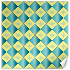 Yellow Blue Diamond Chevron Wave Canvas 20  X 20   by Mariart