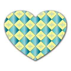 Yellow Blue Diamond Chevron Wave Heart Mousepads by Mariart