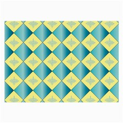 Yellow Blue Diamond Chevron Wave Large Glasses Cloth by Mariart