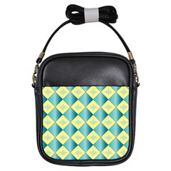 Yellow Blue Diamond Chevron Wave Girls Sling Bags by Mariart