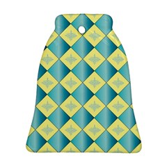 Yellow Blue Diamond Chevron Wave Bell Ornament (two Sides) by Mariart