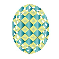 Yellow Blue Diamond Chevron Wave Ornament (oval Filigree) by Mariart
