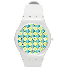 Yellow Blue Diamond Chevron Wave Round Plastic Sport Watch (m) by Mariart