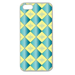 Yellow Blue Diamond Chevron Wave Apple Seamless Iphone 5 Case (clear) by Mariart