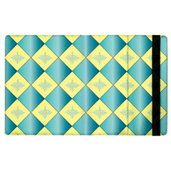 Yellow Blue Diamond Chevron Wave Apple Ipad 2 Flip Case by Mariart