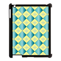 Yellow Blue Diamond Chevron Wave Apple Ipad 3/4 Case (black) by Mariart