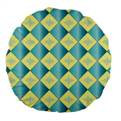 Yellow Blue Diamond Chevron Wave Large 18  Premium Round Cushions by Mariart