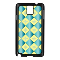 Yellow Blue Diamond Chevron Wave Samsung Galaxy Note 3 N9005 Case (black)