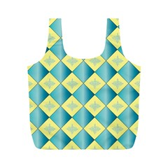 Yellow Blue Diamond Chevron Wave Full Print Recycle Bags (m)  by Mariart