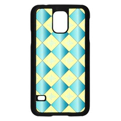 Yellow Blue Diamond Chevron Wave Samsung Galaxy S5 Case (black) by Mariart