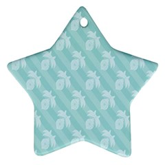 Christmas Day Ribbon Blue Ornament (star)