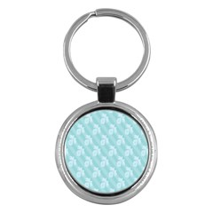 Christmas Day Ribbon Blue Key Chains (round)  by Mariart